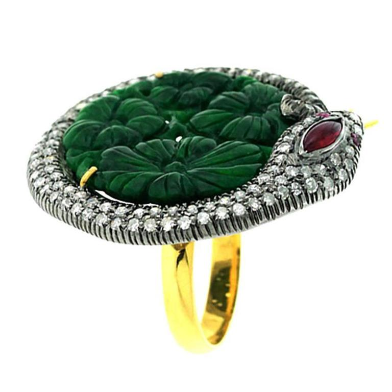 Jade Diamond Gold Snake Motif Ring For Sale
