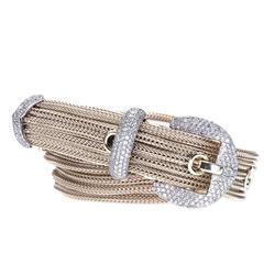 Luscious Double Wrap 5 Strand Buckle Bracelet in 18kt White Gold