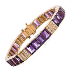 25.66 Carat Amethyst Diamond Gold Line Bracelet
