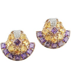Amethyst Topaz Diamond Gold Fan Earrings
