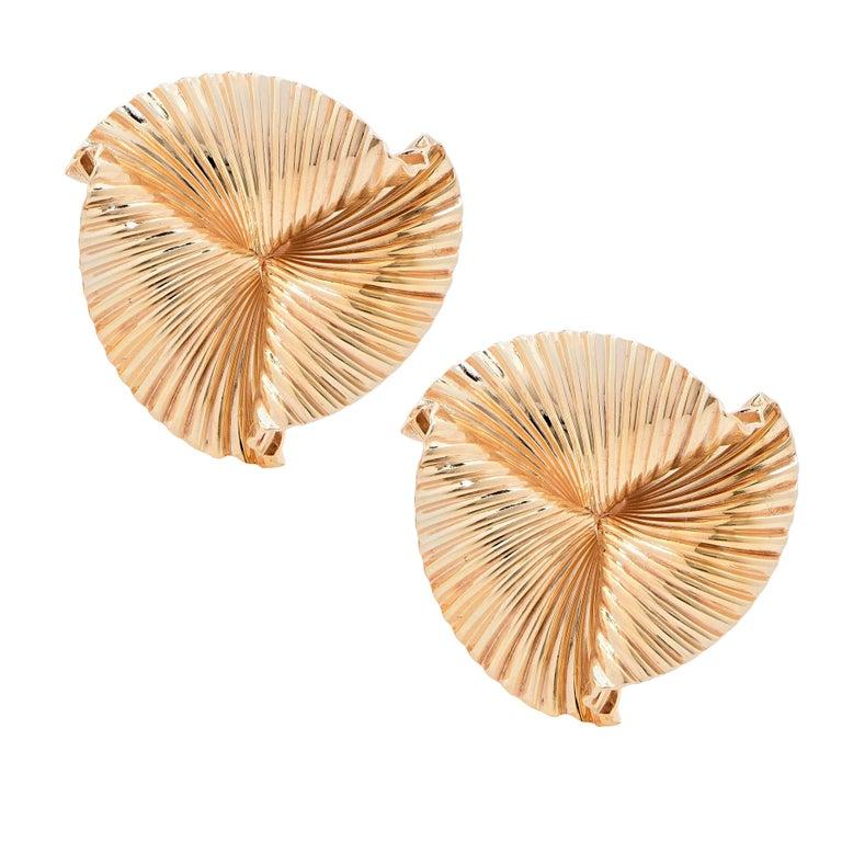1960s Tiffany & Co. Leaf Design Gold Earrings