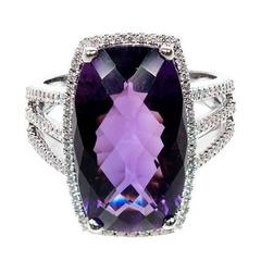 Purple Cushion Amethyst Diamond Gold Halo Ring