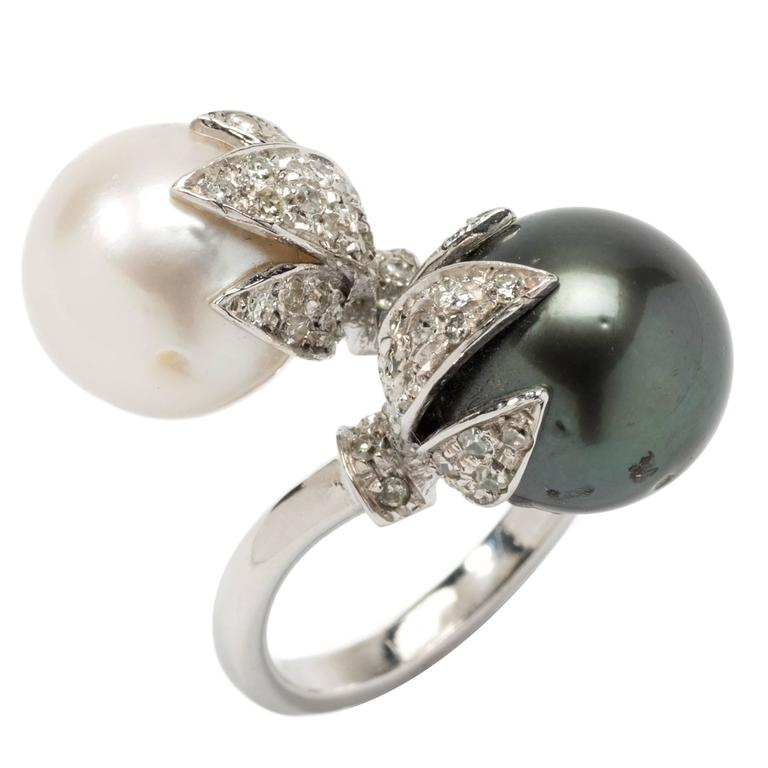 Tahitian and South Sea Pearls Diamonds Gold Ring  1