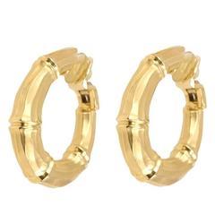 "Cartier Yellow Gold ""Bamboo"" Hoop Earclips"