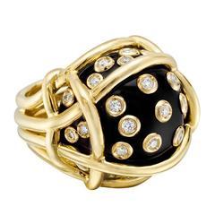 "Verdura Black Onyx and Diamond ""Polka Dot"" Ring"