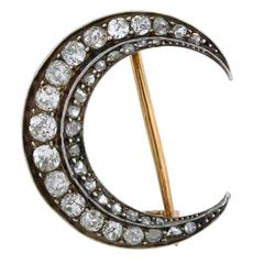 Victorian French 1.50 Carats Diamonds Crescent Pin and Pendant