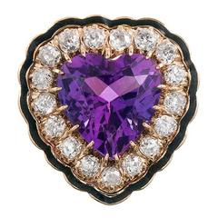 1910s Heart Shaped Amethyst Enamel Diamond Gold Ring