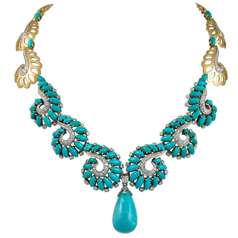 Boucheron Paris Turquoise & Diamond Necklace