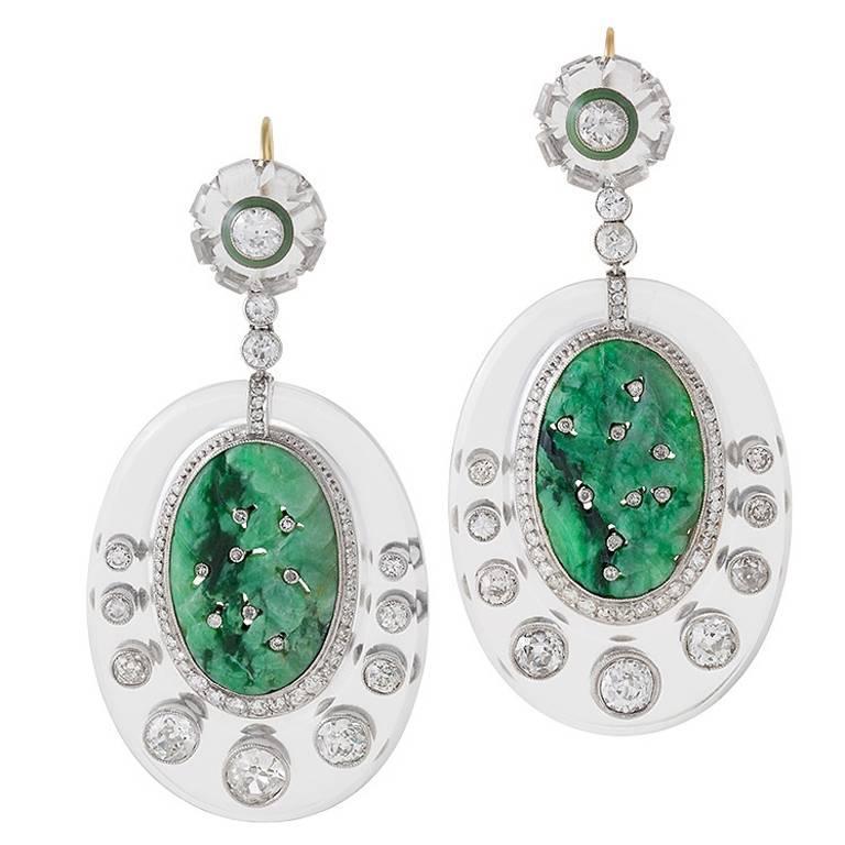 1930's Art Deco Crystal, Jade, Diamond and Platinum Earrings