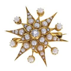 Antique Starburst Pearl Diamond Gold Brooch