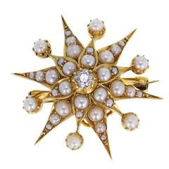 Antique Starburst Pearl Diamond Gold Brooch
