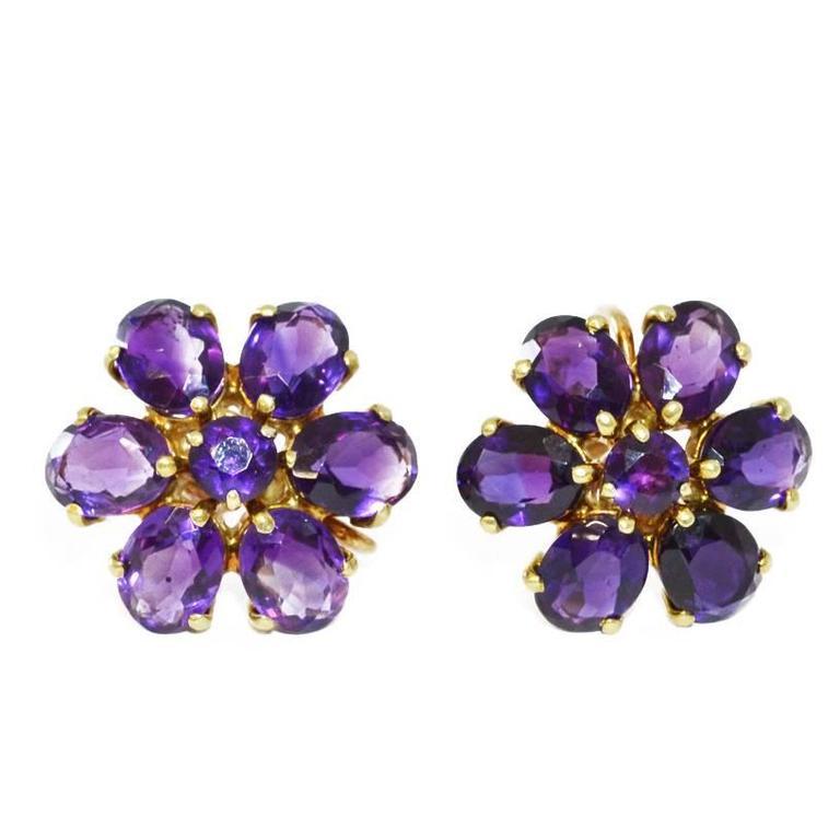 amethyst gold flower earrings at 1stdibs