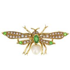 Victorian Pearl Green Garnet Gold Bug Brooch