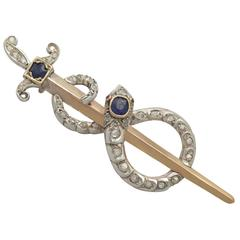 1880s 1.05 Carat Sapphire and 0.78 Carat Diamond, 18k Yellow Gold Brooch