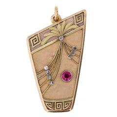 Russian Enamel Ruby Diamond Gold Locket Pendant