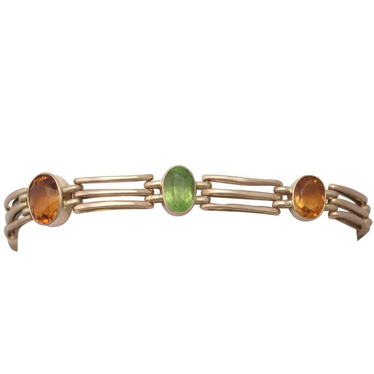 5.19Ct Citrine and 3.72Ct Peridot, 9K Yellow Gold Gate Bracelet - Antique