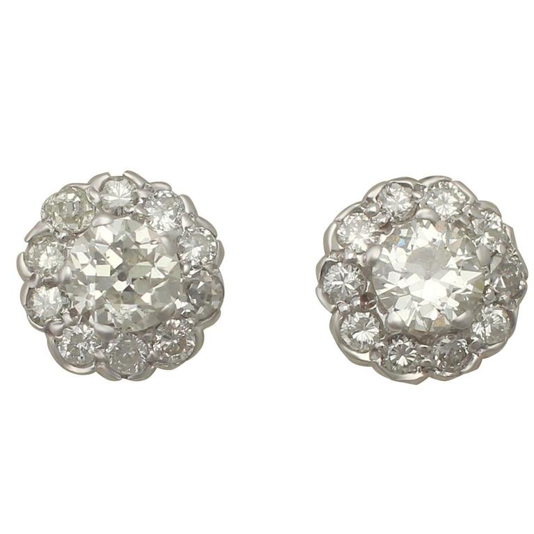 Antique 1.87Ct Diamond and 18K White Gold Cluster Earrings
