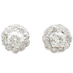 Antique 1.87Ct Diamond and White Gold Cluster Earrings