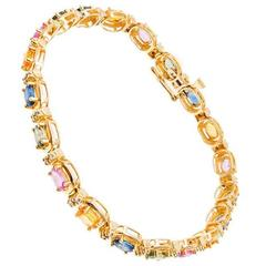 Multi-Colored Sapphire Diamond Gold Bracelet