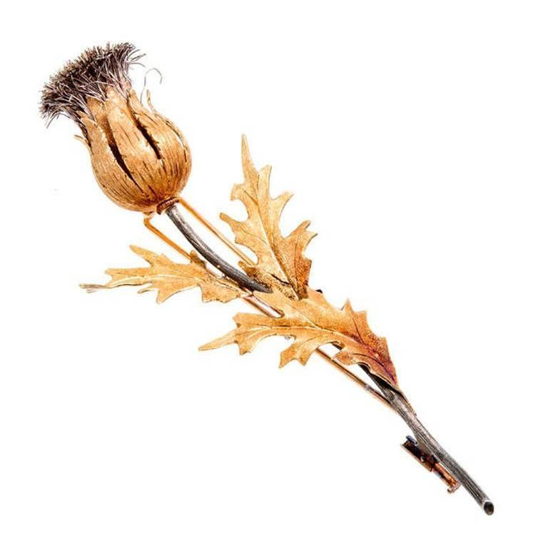 1980s M. Buccellati Natural Patina Silver Thistle Pin with Gold Leaves