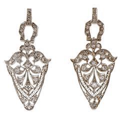 Diamond Platinum Open Work Dangle Earrings