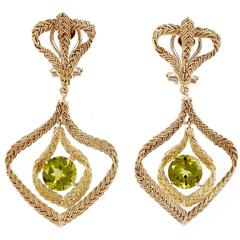 Peridot Hand Woven Italian Gold Dangle Earrings