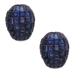 Blue Sapphire Gold Invisibly Set Stud Earrings