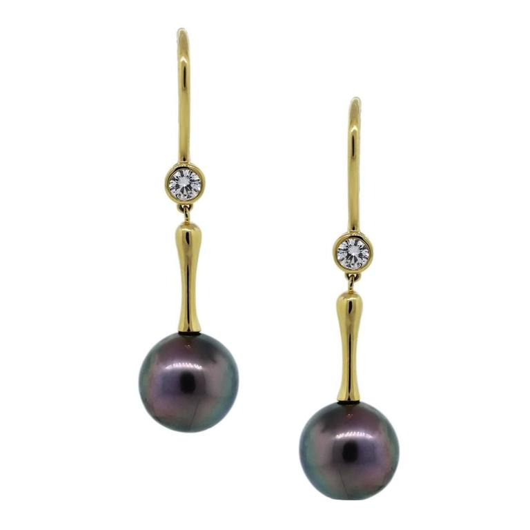 Tiffany & Co. Tahitian Pearl Diamond Gold Drop Dangle Earrings