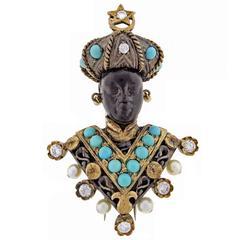 Nardi Turquoise Diamond Silver Gold Blackamoor Brooch