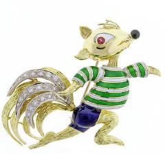 Tiffany & Co. Donald Claflin Enamel Gold Squirrel Brooch