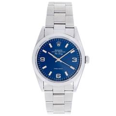Rolex Stainless Steel Blue Dial Air-King Automatic Wristwatch