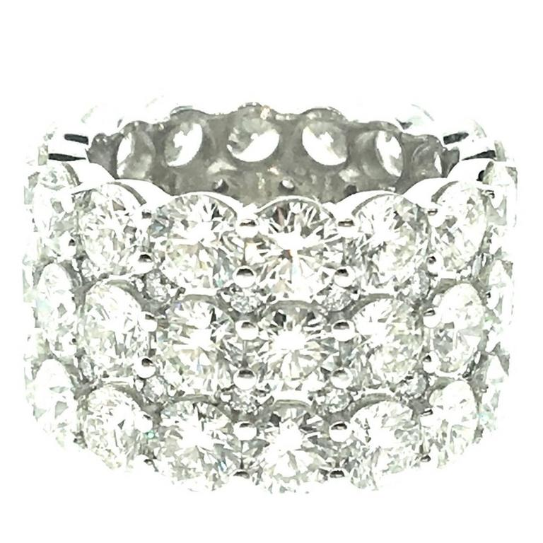12 Carats Round Brilliant Diamonds Wide Eternity Band Ring in 18k White Gold