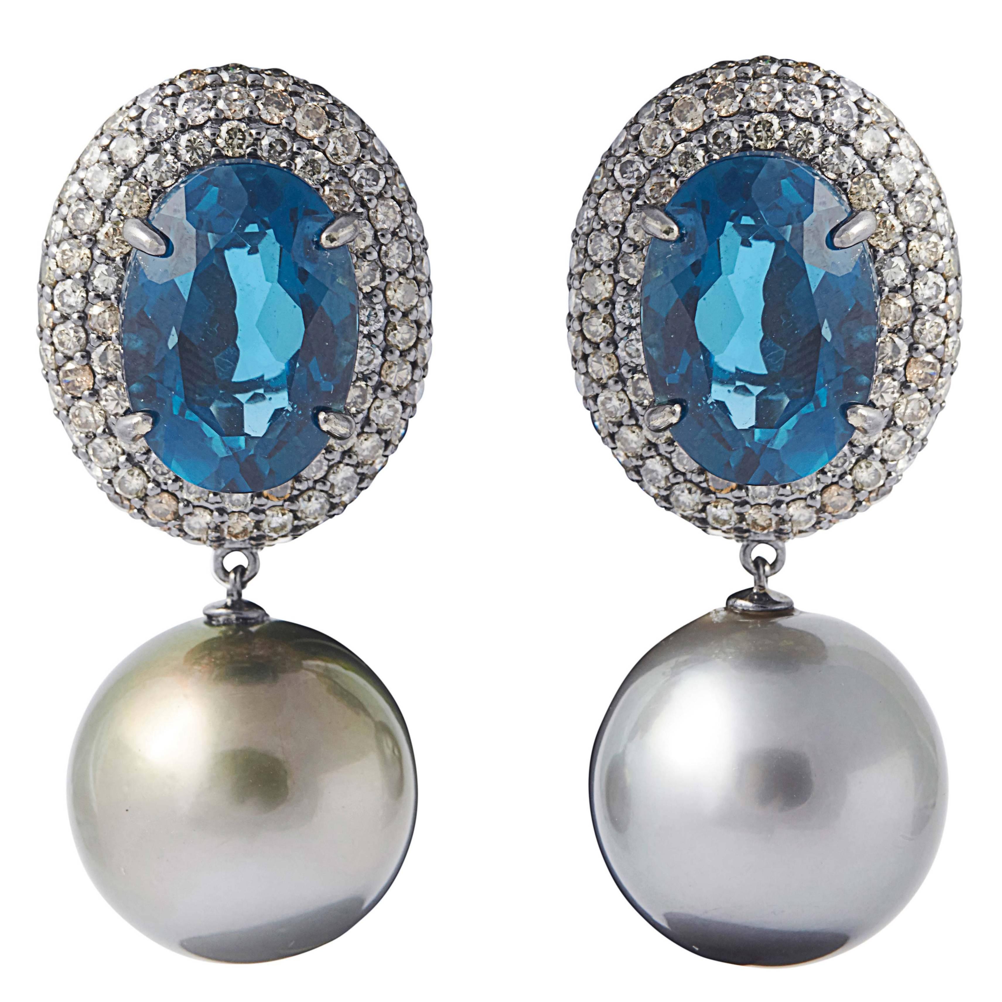 London Blue Topaz Diamond Tahitian Pearl Drop Earrings 3 Carats 18K