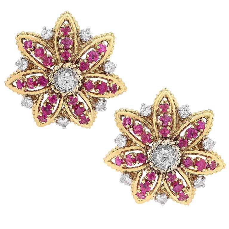 1970s French Ruby Diamond Flower Ear Clips