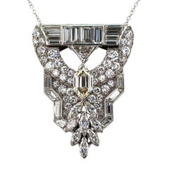 Art Deco Fancy Cut Diamond Platinum Clip Brooch