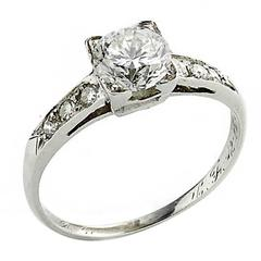 1.01 Carat Brilliant Cut Diamond Platinum Ring