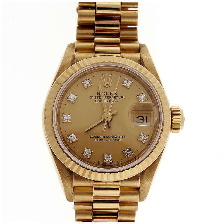 Rolex Lady's Yellow Gold Diamond Dial Datejust Wristwatch Ref 69178