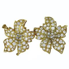 7.50 Carat Pave Diamonds Gold Leaf Earrings