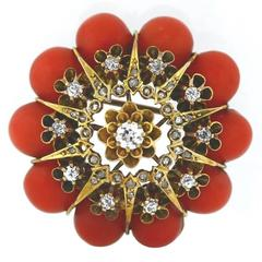 Early Victorian Red Coral Old European and Rose Cut Diamonds Starburst Brooch
