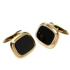 Art Deco Onyx Cufflinks, Silver Gold-Plated by Rusch