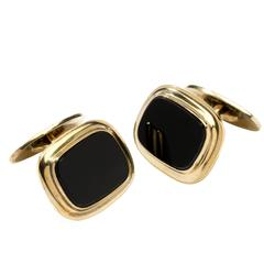 Art Deco Onyx Cufflinks, Silver Gold-Plated by Rusch