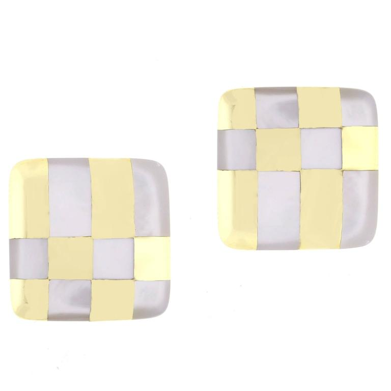 1980s Tiffany & Co. Mother of Pearl Gold Checkerboard Earrings