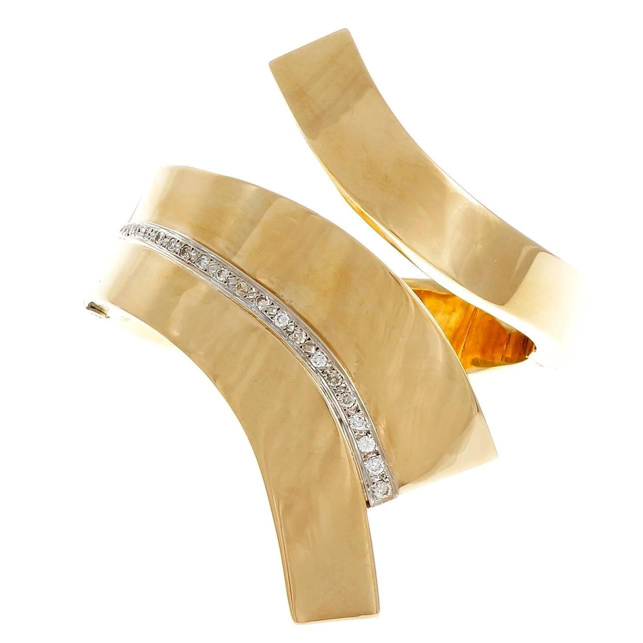 .63 Carat Diamond Gold Bangle Bracelet