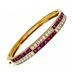 Square Ruby Diamond Gold Hinged Bangle Bracelet
