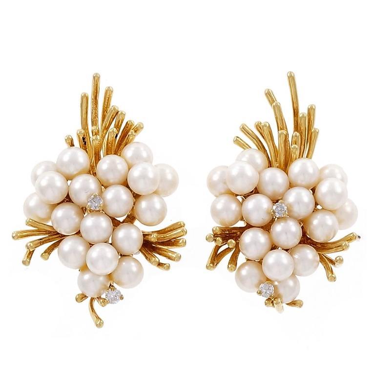Pearl Diamond Gold Spray Design Earrings