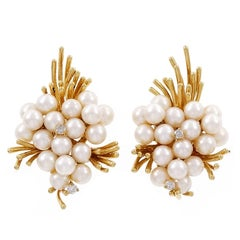 Pearl Diamond Gold Spray Design Clip Post Earrings