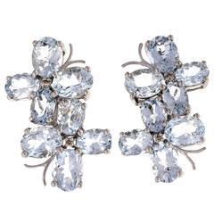 Aquamarine Diamond Gold Double Cluster Earrings