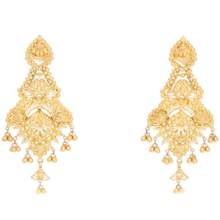 Beautiful Gold Dangle Earrings For Sale