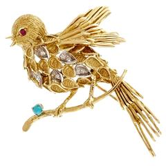 J. Rossi Turquoise Ruby Diamond Gold Robin Pin Brooch