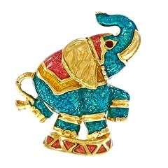Hidalgo Multi Color Enamel Gold Elephant Pin Brooch